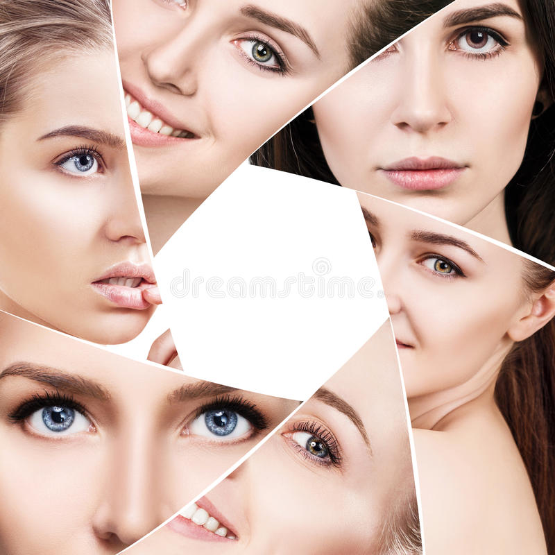 Collage of beautiful woman faces giaphragm stock photography
