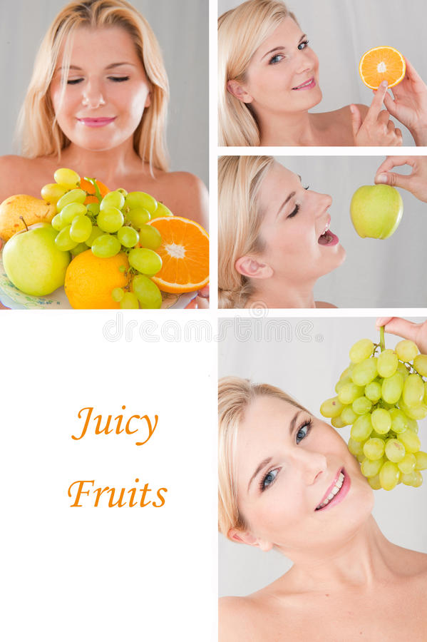 Collage.beautiful woman with many fresh fruits. Collage. beautiful healthy woman with many fresh fruits. healthy lifestyle royalty free stock photo