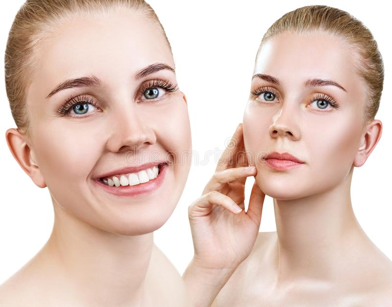 Collage of beautiful woman with perfect clean skin. stock photography
