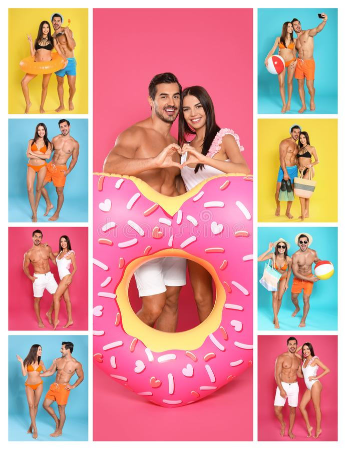 Collage of beautiful young woman in bikini with her boyfriend on color backgrounds stock photo