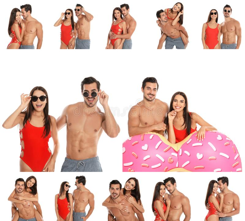 Collage of beautiful young woman in bikini with her boyfriend on white background stock photo