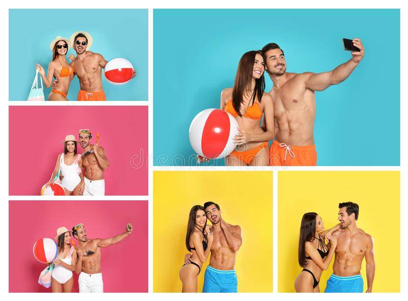 Collage of beautiful young woman in bikini with her boyfriend on backgrounds. Lovely couple stock images