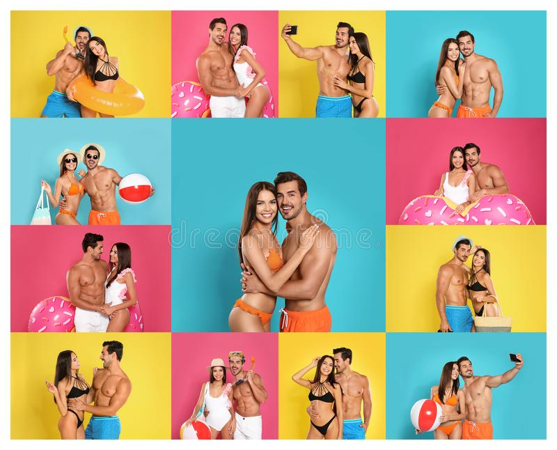 Collage of beautiful young woman in bikini with her boyfriend on color backgrounds royalty free stock images