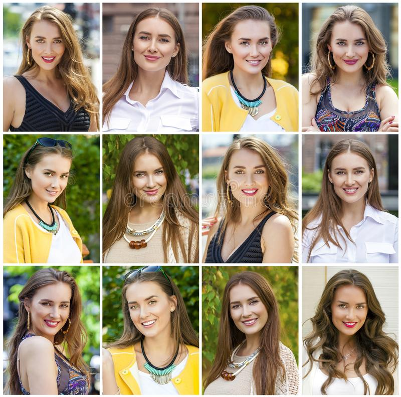 Collage of beautiful young women stock photos
