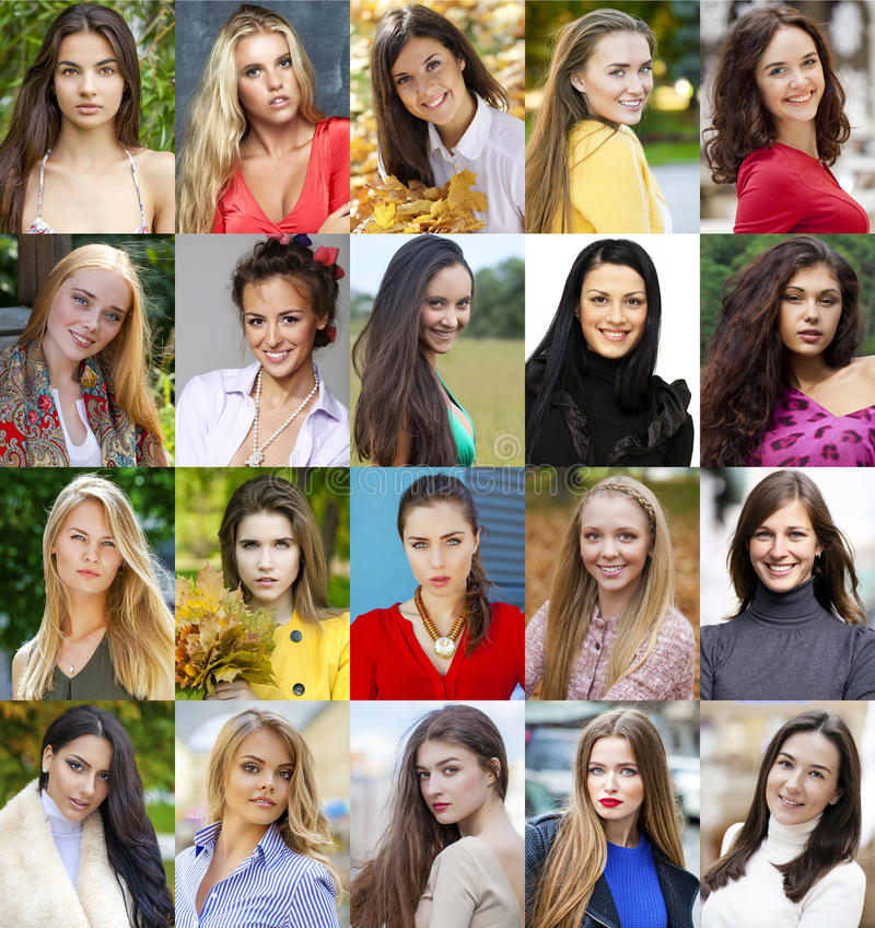 Collage of beautiful young women between eighteen and thirty yea royalty free stock image