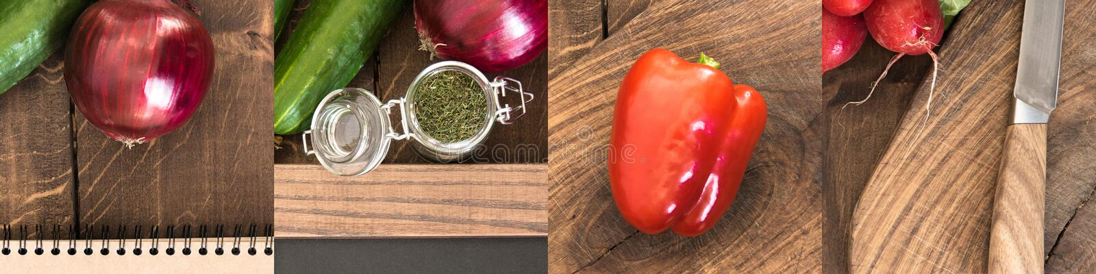 Bell pepper, red onion and cucumber on wooden brown table. Collage of bell pepper, red onion and cucumber on wooden brown table royalty free stock image