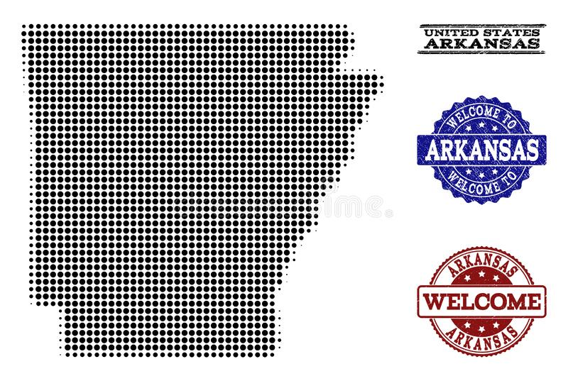 Collage benvenuto della mappa di semitono dei bolli dello stato e di lerciume dell'Arkansas royalty illustrazione gratis