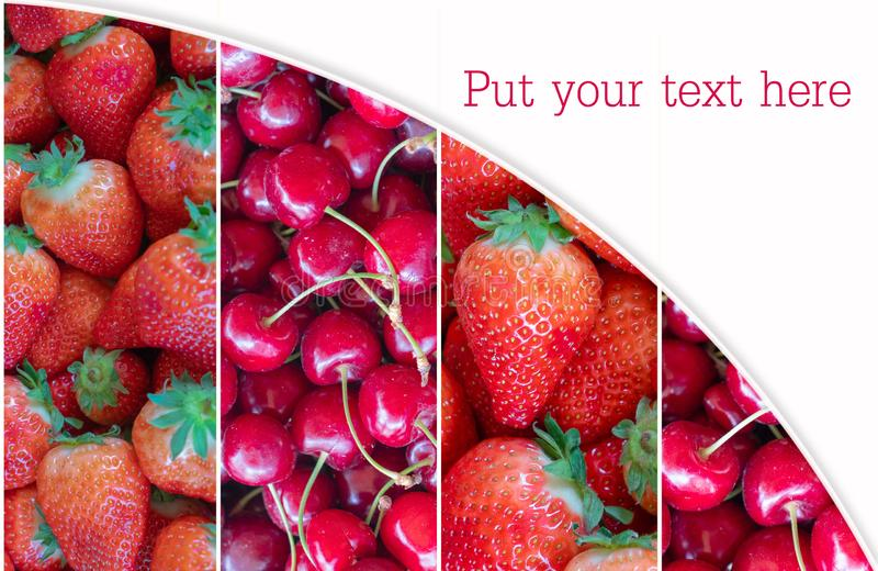 Collage from berries. Composition of fresh soft fruit images. cherries and strawberries closeup. Summer time. copy space royalty free stock image