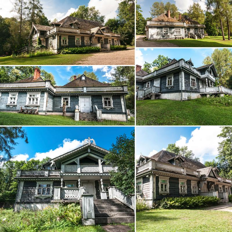 Collage with Bialowieza manor house. stock photography