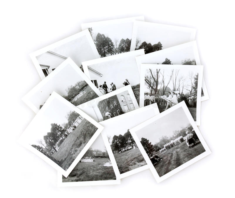 Collage in bianco e nero delle foto dell'annata fotografia stock