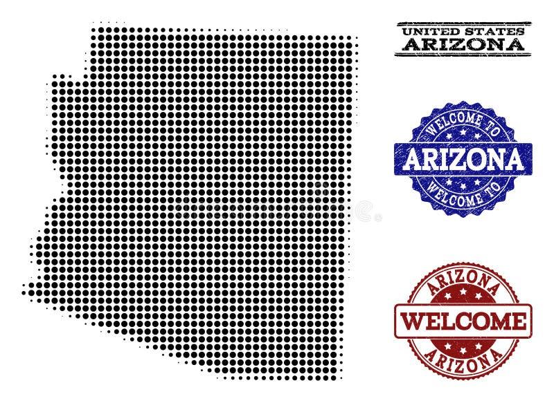 Collage bienvenu de la carte tramée des timbres d'état et de détresse de l'Arizona illustration stock