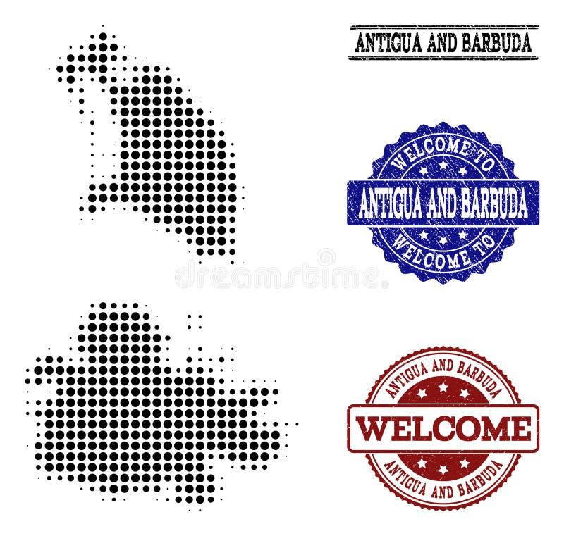 Collage bienvenu de la carte tramée de l'Antigua-et-Barbuda et des joints rayés illustration libre de droits