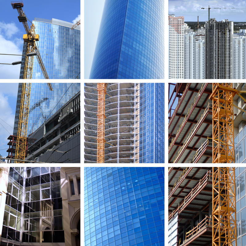Collage of big construction. Collage of construction of modern skyscrapers and building crane stock image