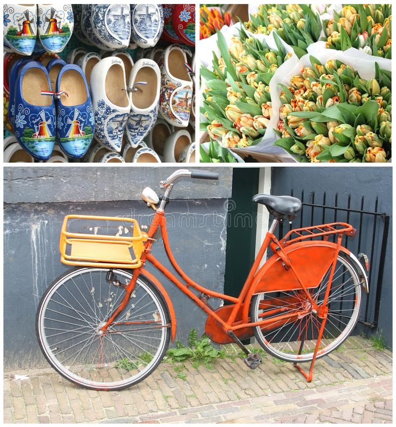 Collage characteristic Dutch retro bike & souvenirs,Amsterdam,Netherlands. Collage of hand painted wooden shoes (klompen) with mills, bouquets of tulips and a stock images