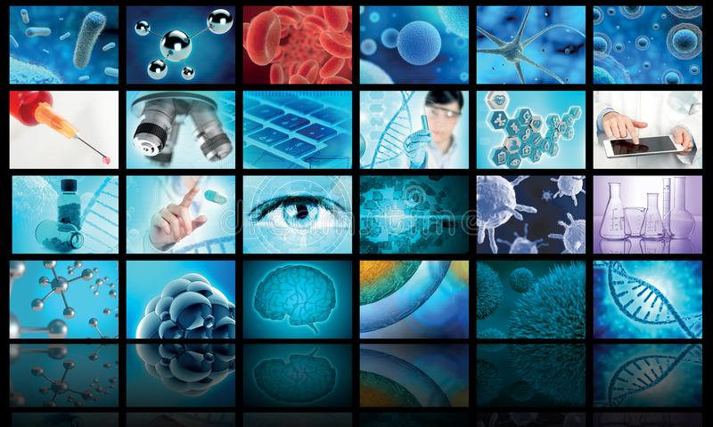 Collage of biology and medical images vector illustration