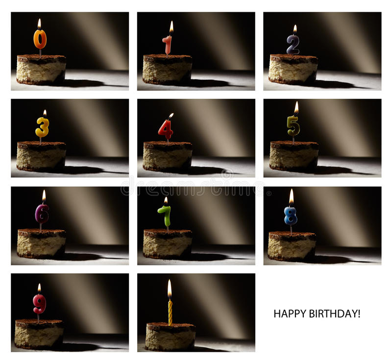 Collage of birthday candles. royalty free stock photo