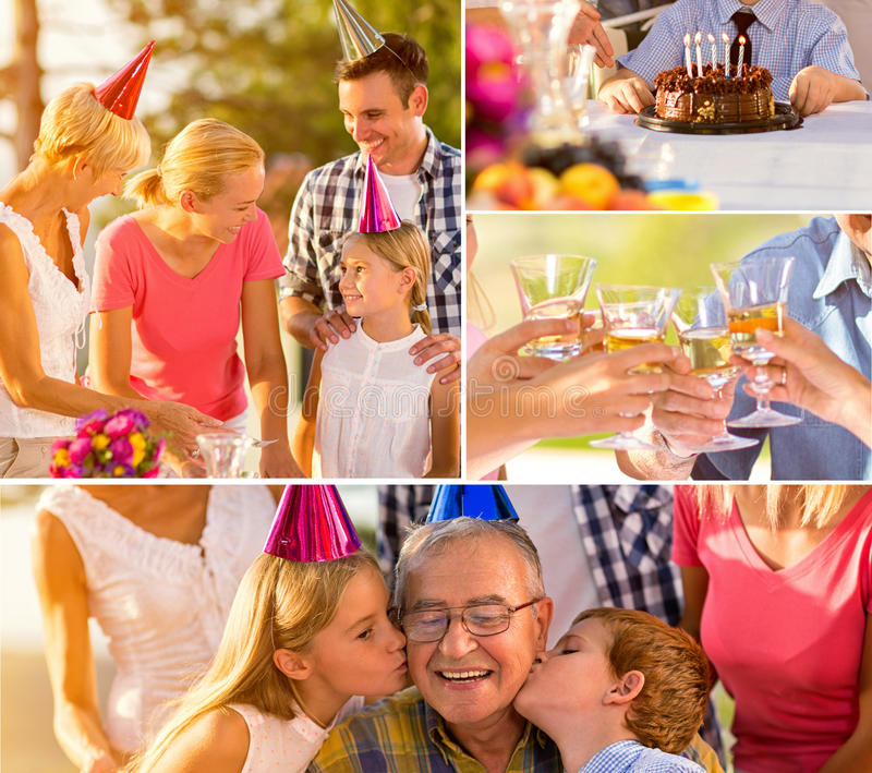 Collage of birthday party royalty free stock photo