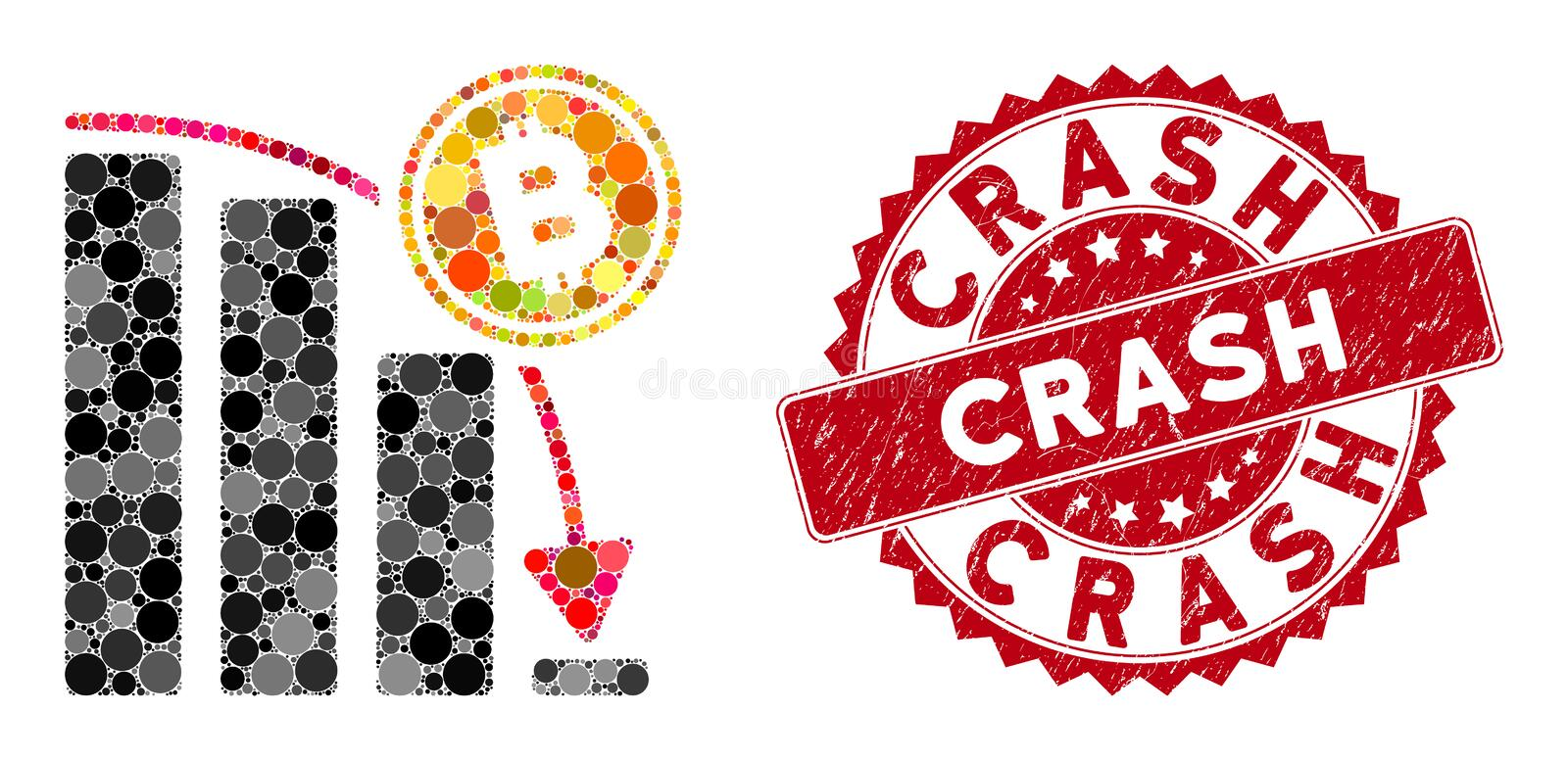 Collage Bitcoin Epic Fail Chart with Scratched Crash Stamp vector illustration