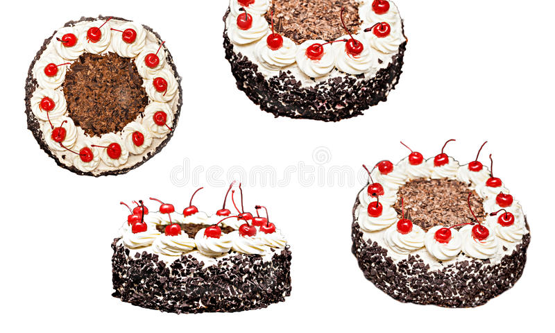 Collage of the Black Forest cake in different forms, isolated.  stock images