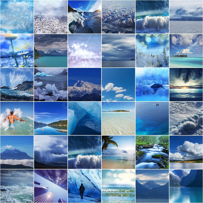 Collage bleu photographie stock libre de droits