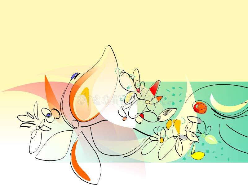 collage blommar den gladlynt fjädern vektor illustrationer