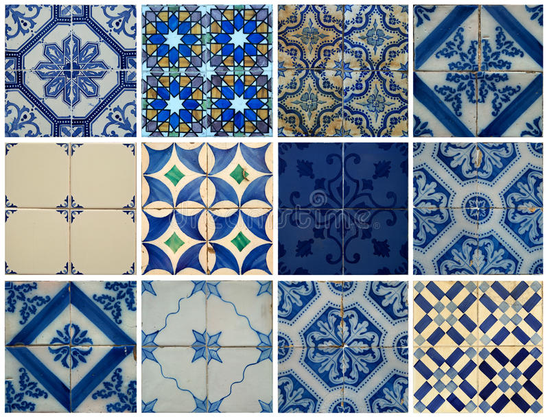 Collage of blue pattern tiles in Portugal royalty free illustration