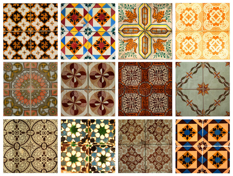 Collage of blue pattern tiles in Portugal stock illustration
