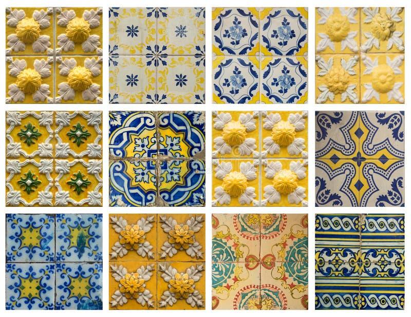 Collage of blue pattern tiles in Portugal. Collage of different yellow and blue pattern tiles in Lisbon, Portugal stock illustration