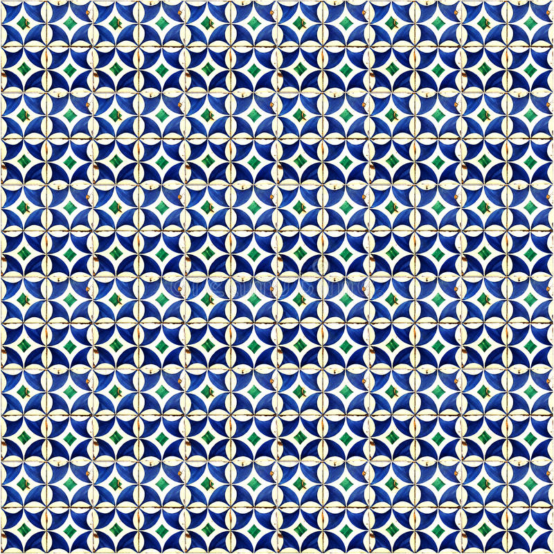 Collage of blue pattern tiles in Portugal. Collage of blue tiles in Lisbon, Portugal repeated to create a seamless, tillable pattern vector illustration
