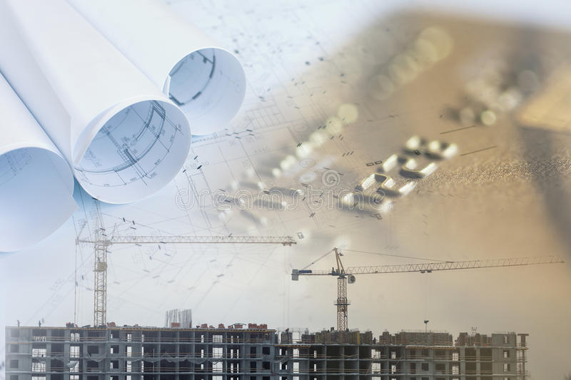 Collage with blueprints and construction site. And credit card royalty free stock photos