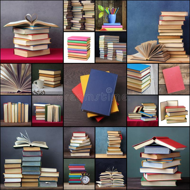 Collage with books. Book background. royalty free stock images