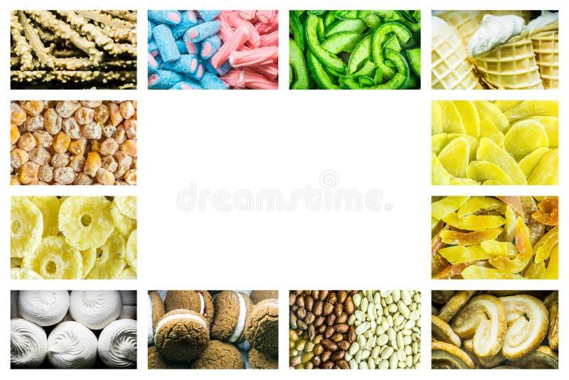 Collage brillante de los caramelos multicolores de las habas de jalea, de las frutas secadas dulces y de los pasteles dulces fres fotos de archivo libres de regalías