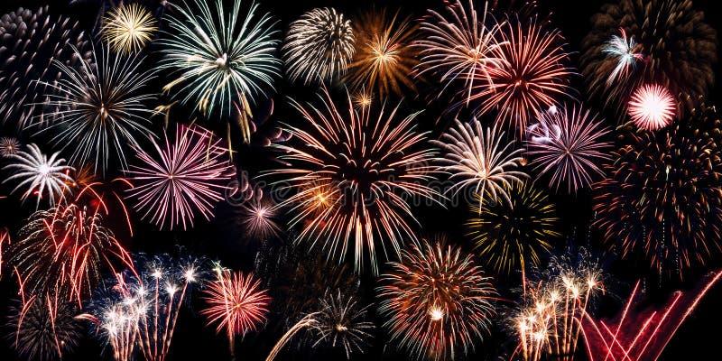 Collage brillante de los fuegos artificiales fotografía de archivo libre de regalías