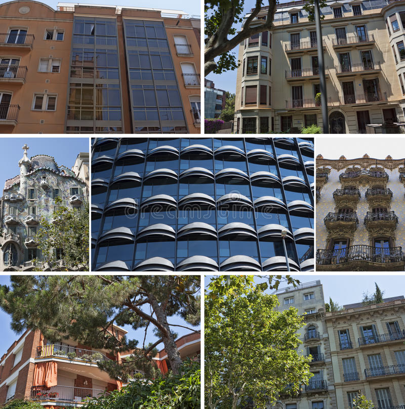 Collage of building balconies and windows royalty free stock photo