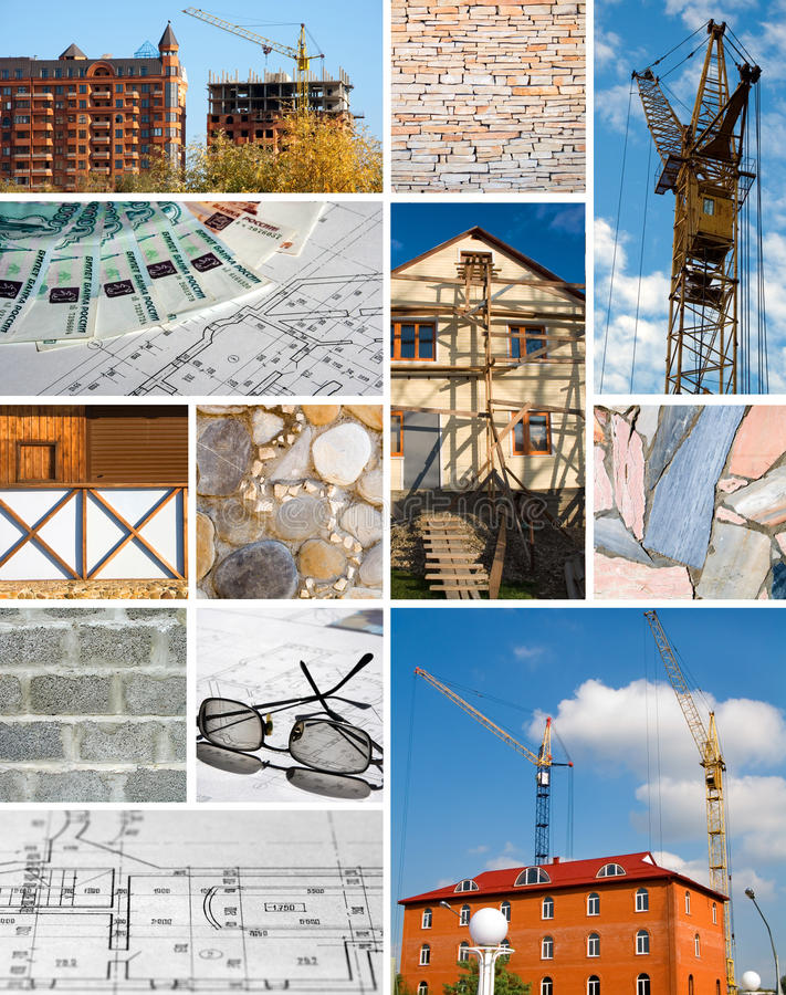 Collage of a building designing and construction royalty free stock photography