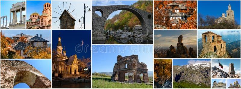 Collage of Bulgarian landmarks, travel images stock image