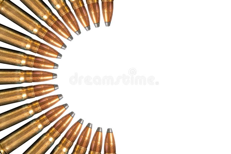 Collage of bullets isolated on white background. Top view, with copy space.  royalty free stock photos