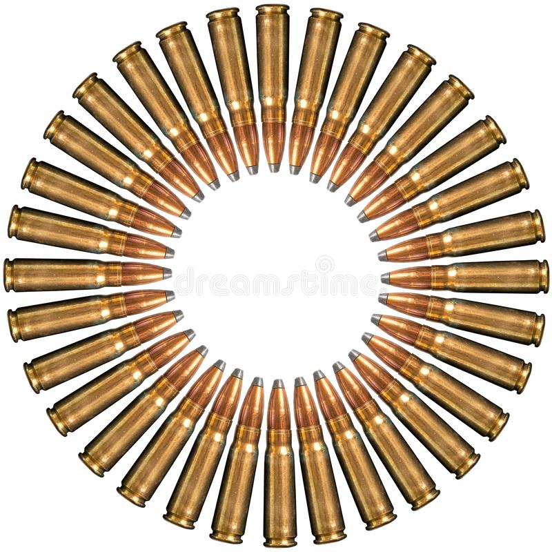 Collage of bullets isolated on white background. Top view, with copy space.  stock photo