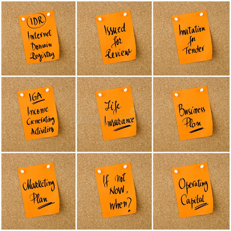 Collage of Business Acronyms written on paper note royalty free stock photography