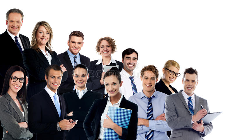 Collage of business experts stock images