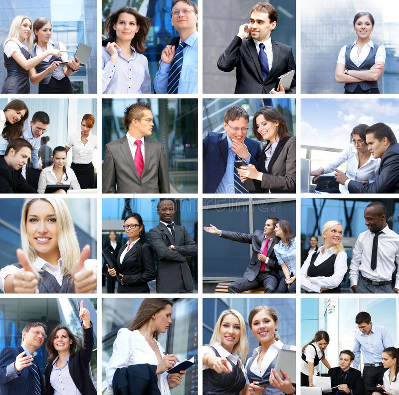 A collage of business images with young people royalty free stock images