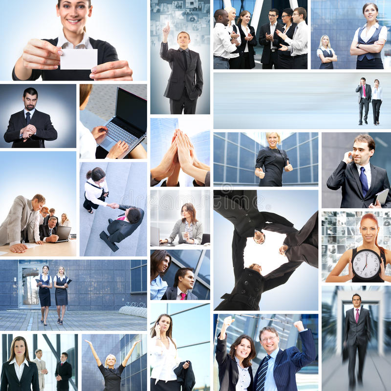 A collage of business people in formal clothes stock photography