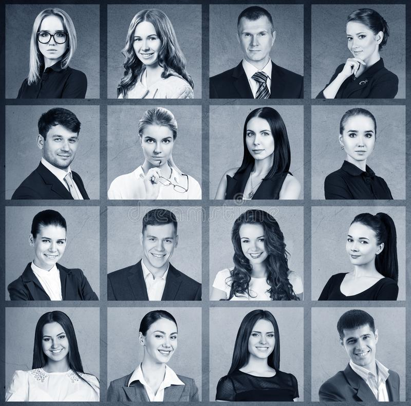 Collage of business people in square. stock image