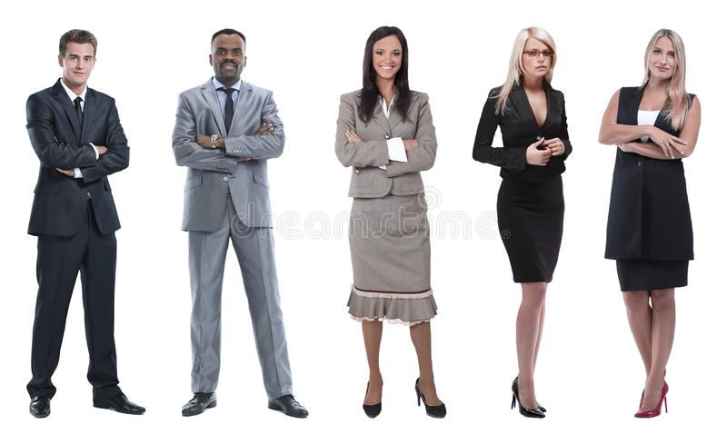 Collage of business people on white background. Group of ordinary people isolated on white royalty free stock photography