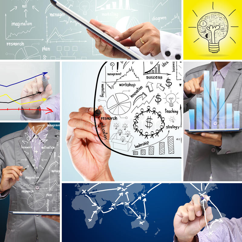 Collage business plan concept idea vector illustration