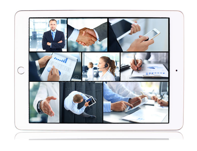 Collage of business teams. Technology and partnership concepts in tablet computer stock images