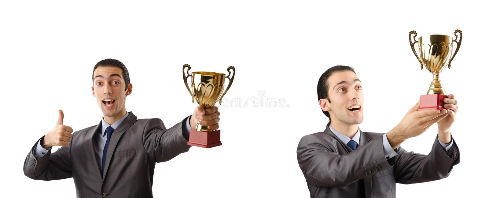 The collage of businessman receiving award. Collage of businessman receiving award stock photo