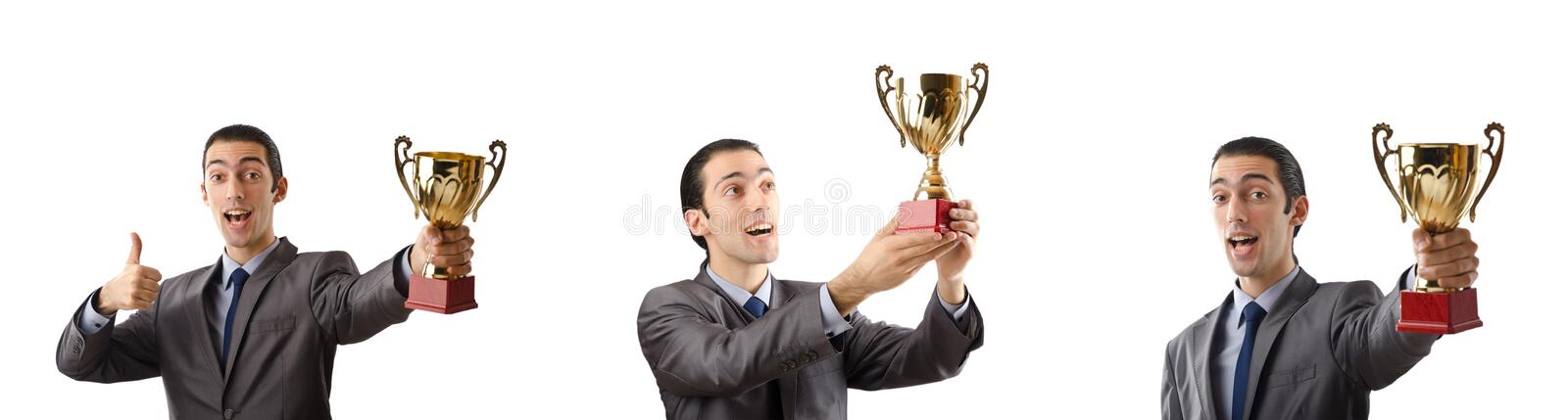 The collage of businessman receiving award. Collage of businessman receiving award stock image