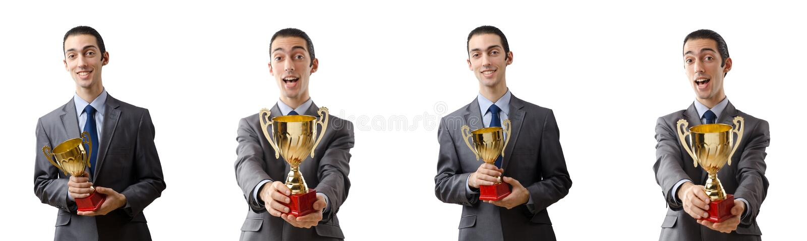The collage of businessman receiving award. Collage of businessman receiving award royalty free stock image
