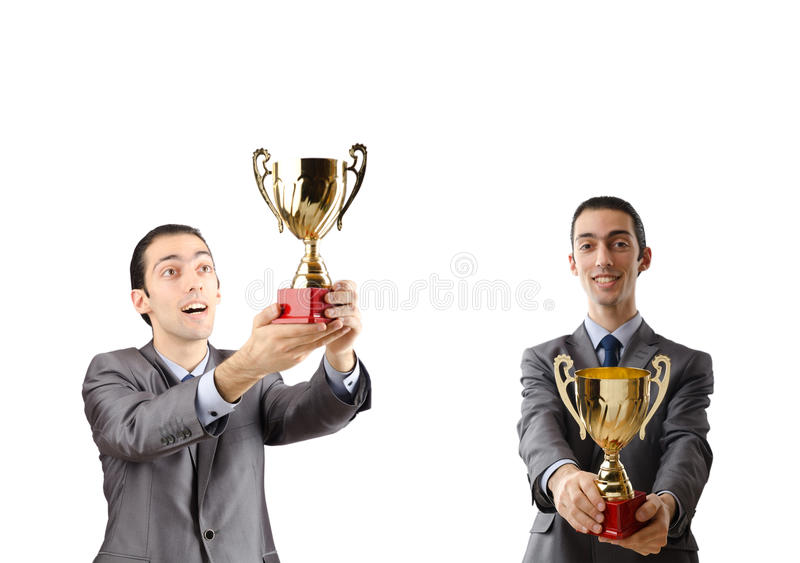 The collage of businessman receiving award. Collage of businessman receiving award royalty free stock photos